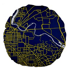Map Art City Linbe Yellow Blue Large 18  Premium Flano Round Cushions by Alisyart