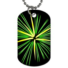Fireworks Green Happy New Year Yellow Black Sky Dog Tag (two Sides) by Alisyart