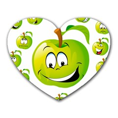 Apple Green Fruit Emoji Face Smile Fres Red Cute Heart Mousepads by Alisyart