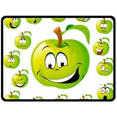Apple Green Fruit Emoji Face Smile Fres Red Cute Fleece Blanket (large)  by Alisyart