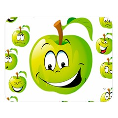 Apple Green Fruit Emoji Face Smile Fres Red Cute Double Sided Flano Blanket (large)  by Alisyart