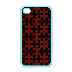 Puzzle1 Black Marble & Red Wood Apple Iphone 4 Case (color) by trendistuff