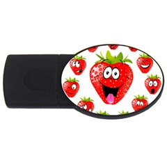 Strawberry Fruit Emoji Face Smile Fres Red Cute Usb Flash Drive Oval (4 Gb) by Alisyart