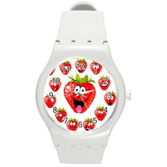 Strawberry Fruit Emoji Face Smile Fres Red Cute Round Plastic Sport Watch (m) by Alisyart