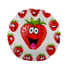 Strawberry Fruit Emoji Face Smile Fres Red Cute Standard 15  Premium Round Cushions by Alisyart