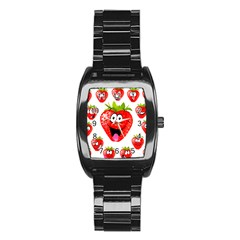 Strawberry Fruit Emoji Face Smile Fres Red Cute Stainless Steel Barrel Watch by Alisyart