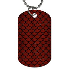 Scales1 Black Marble & Red Wood Dog Tag (one Side) by trendistuff
