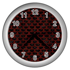Scales3 Black Marble & Red Wood (r) Wall Clocks (silver)  by trendistuff