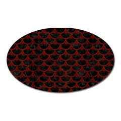 Scales3 Black Marble & Red Wood (r) Oval Magnet by trendistuff