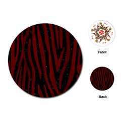 Skin4 Black Marble & Red Wood Playing Cards (round)  by trendistuff