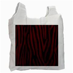 Skin4 Black Marble & Red Wood Recycle Bag (one Side) by trendistuff
