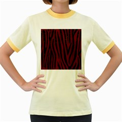 Skin4 Black Marble & Red Wood (r) Women s Fitted Ringer T Shirts by trendistuff