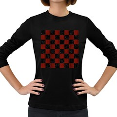 Square1 Black Marble & Red Wood Women s Long Sleeve Dark T Shirts by trendistuff