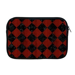 Square2 Black Marble & Red Wood Apple Macbook Pro 17  Zipper Case by trendistuff