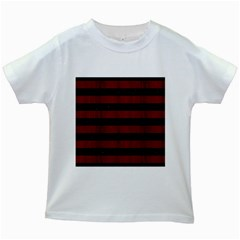 Stripes2 Black Marble & Red Wood Kids White T Shirts by trendistuff