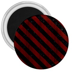 Stripes3 Black Marble & Red Wood 3  Magnets by trendistuff