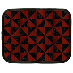 Triangle1 Black Marble & Red Wood Netbook Case (xl)  by trendistuff