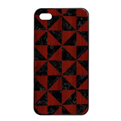 Triangle1 Black Marble & Red Wood Apple Iphone 4/4s Seamless Case (black) by trendistuff