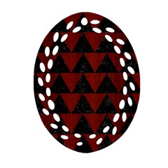 Triangle2 Black Marble & Red Wood Oval Filigree Ornament (two Sides) by trendistuff