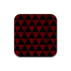 Triangle3 Black Marble & Red Wood Rubber Square Coaster (4 Pack)  by trendistuff