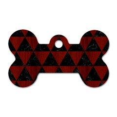Triangle3 Black Marble & Red Wood Dog Tag Bone (two Sides) by trendistuff