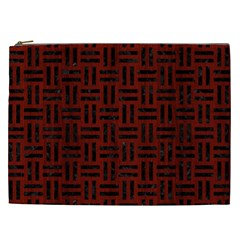 Woven1 Black Marble & Red Wood Cosmetic Bag (xxl)  by trendistuff