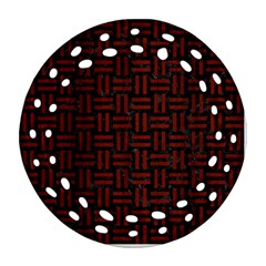 Woven1 Black Marble & Red Wood (r) Round Filigree Ornament (two Sides) by trendistuff