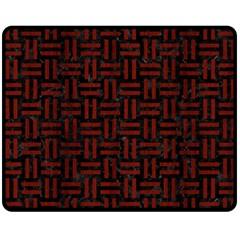 Woven1 Black Marble & Red Wood (r) Double Sided Fleece Blanket (medium)  by trendistuff