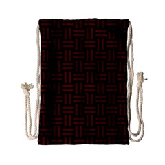Woven1 Black Marble & Red Wood (r) Drawstring Bag (small) by trendistuff