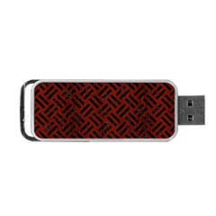 Woven2 Black Marble & Red Wood Portable Usb Flash (two Sides) by trendistuff