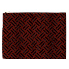 Woven2 Black Marble & Red Wood Cosmetic Bag (xxl)  by trendistuff