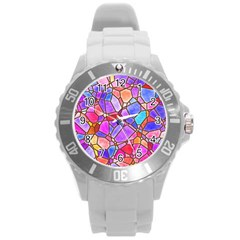Mosaic Linda 1 Round Plastic Sport Watch (l) by MoreColorsinLife