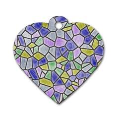 Mosaic Linda 5 Dog Tag Heart (one Side) by MoreColorsinLife
