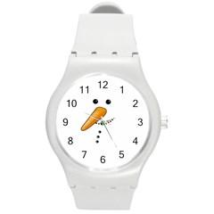 Cute Snowman Round Plastic Sport Watch (m) by Valentinaart