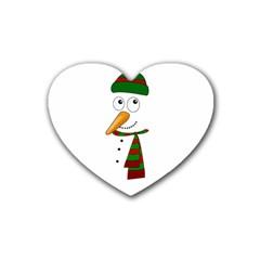 Cute Snowman Rubber Coaster (heart)  by Valentinaart