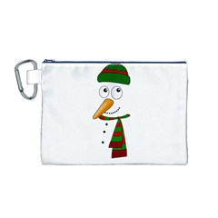 Cute Snowman Canvas Cosmetic Bag (m) by Valentinaart