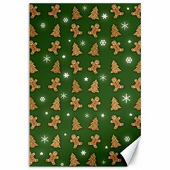 Ginger Cookies Christmas Pattern Canvas 12  X 18   by Valentinaart