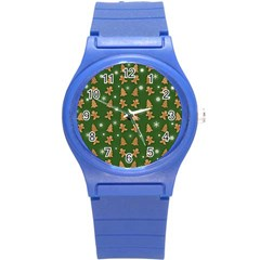 Ginger Cookies Christmas Pattern Round Plastic Sport Watch (s) by Valentinaart