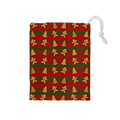 Ginger Cookies Christmas Pattern Drawstring Pouches (medium)  by Valentinaart
