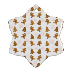 Ginger Cookies Christmas Pattern Snowflake Ornament (two Sides) by Valentinaart