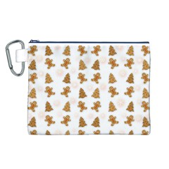 Ginger Cookies Christmas Pattern Canvas Cosmetic Bag (l) by Valentinaart
