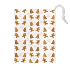 Ginger Cookies Christmas Pattern Drawstring Pouches (extra Large) by Valentinaart