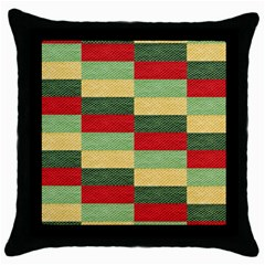 Fabric Coarse Texture Rough Red Throw Pillow Case (black) by Onesevenart