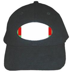 Fabric Christmas Red White Green Black Cap by Onesevenart