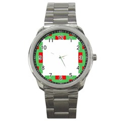 Fabric Christmas Red White Green Sport Metal Watch by Onesevenart