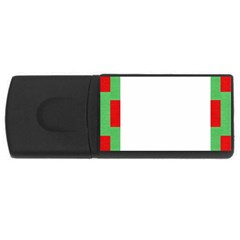 Fabric Christmas Red White Green Rectangular Usb Flash Drive by Onesevenart