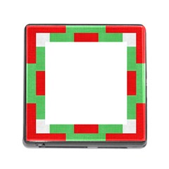 Fabric Christmas Red White Green Memory Card Reader (square) by Onesevenart