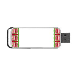 Frame Pattern Christmas Frame Portable Usb Flash (two Sides) by Onesevenart
