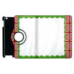 Frame Pattern Christmas Frame Apple Ipad 2 Flip 360 Case by Onesevenart