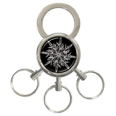 Ice Crystal Ice Form Frost Fabric 3 Ring Key Chains by Onesevenart